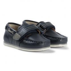 Mayoral Navy Leather Velcro Boat Shoes