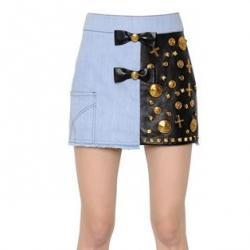 FAUSTO PUGLISI EMBELLISHED LEATHER & COTTON DENIM SKIRT
