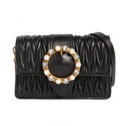 MIU MIU QUILTED SHOULDER BAG W/ JEWEL BUCKLE