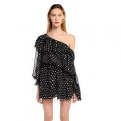 SAINT LAURENT LIPSTICK DOTS PRINT SILK GEORGETTE DRESS