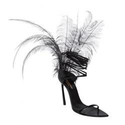 SAINT LAURENT 105MM TALITHA FEATHERED LEATHER SANDALS