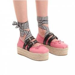 MIU MIU 45MM BUCKLED LEATHER BALLERINA WEDGES