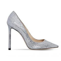 JIMMY CHOO 100MM ROMY GLITTER & NET LACE PUMPS