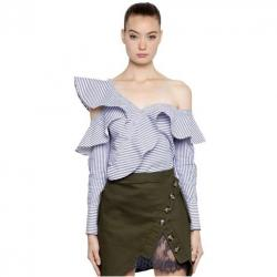 SELF-PORTRAIT STRIPED COTTON SHIRTING FRILL TOP