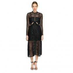 SELF-PORTRAIT PAYNE CUTOUT FLORAL LACE MIDI DRESS