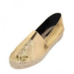 KENZO 20MM METALLIC FAUX LEATHER ESPADRILLES