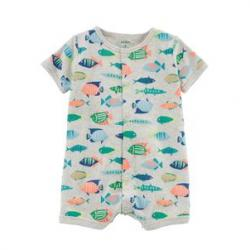 Fish Snap-Up Cotton Romper