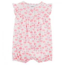 Flamingo Snap-Up Cotton Romper