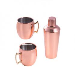 Copper Plated Stainless Steel, 25 oz. Shaker with Strainer and Two 20 Oz. Tankard Set