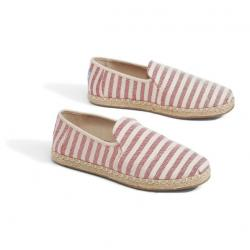 RED WOVEN STRIPE WOMEN'S DECONSTRUCTED ALPARGATAS